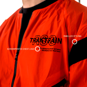 Closer logo view for RESURGENCE® + TRAKTRAIN | Light Jacket